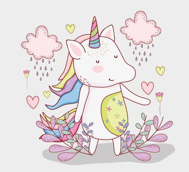 Bonito unicornio con nubes lloviendo y plantas.