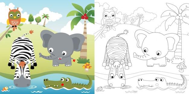 Bonitos animales de dibujos animados en la naturaleza