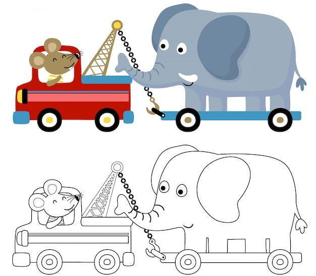 Bonitos animales de dibujos animados en vehículos