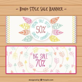 Bonitos banners de rabajas en estilo boho