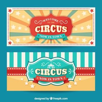 Bonitos banners vintage de circo