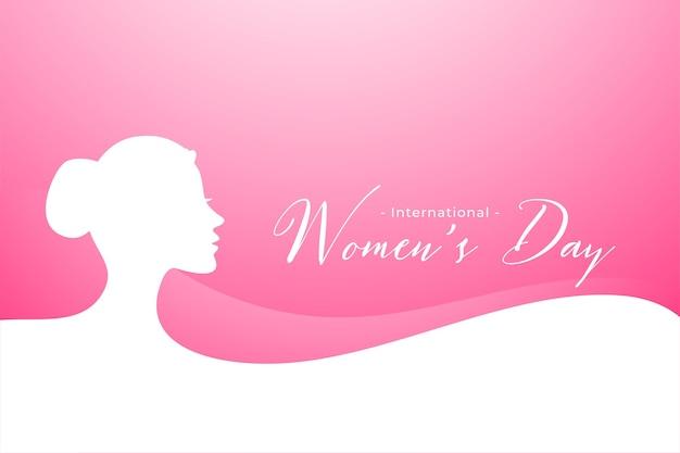 Bonitos deseos felices del día de la mujer en tema rosa
