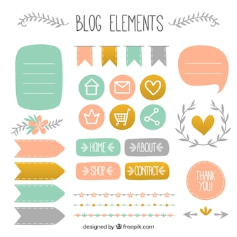 Bonitos elementos dibujados a mano para blog