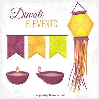 Bonitos elementos del festival de diwali