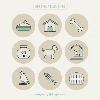 Bonitos elementos de mascotas