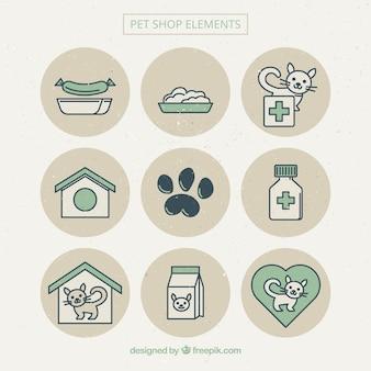 Bonitos elementos de tienda de animales