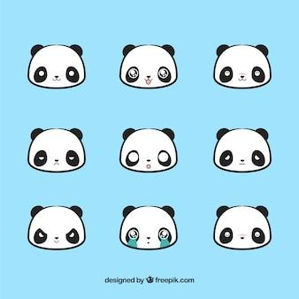 Bonitos emoticonos de oso panda