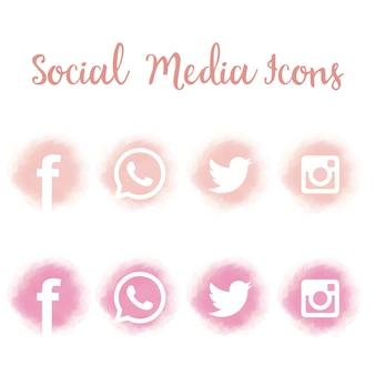 Bonitos iconos de redes sociales en acuarela.