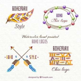 Bonitos logos de estilo boho de acuarela