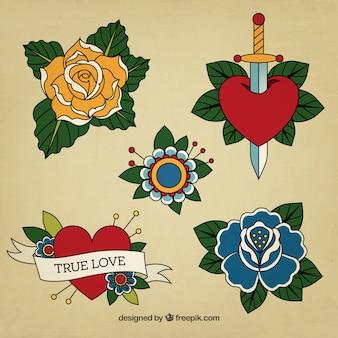 Bonitos tatuajes estilo vintage dibujados a mano