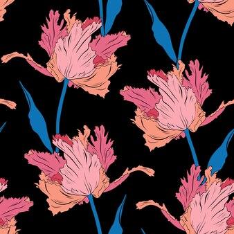 Bonitos tulipanes rosados de felpa. patrón sin costuras. ilustración de vector dibujado a mano. arte lineal. textura para impresión, tela, textil, papel tapiz.