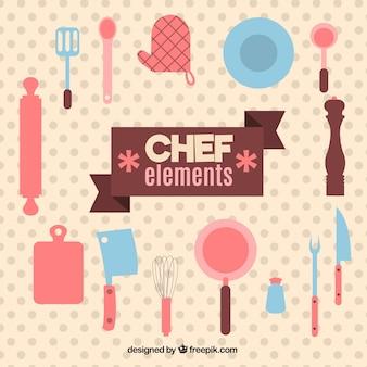 Bonitos utensilios de cocina en diseño plano