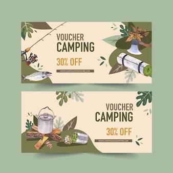 Bono de camping con hacha, varilla, olla e ilustraciones de alimentos enlatados.