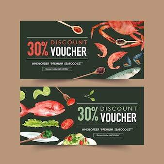 Bono del día mundial de la comida con cangrejo, mejillones, pescado, lima, ensalada ilustración acuarela.
