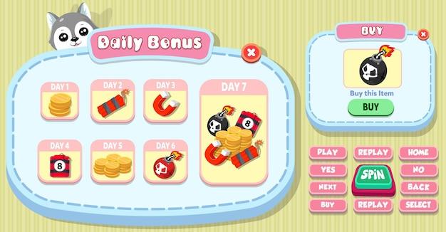 Bono diario de la interfaz de usuario del juego casual de dibujos animados para niños y menú de compra emergente con estrellas, botones y gato