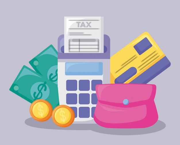 Bono económico y financiero con conjunto de iconos.