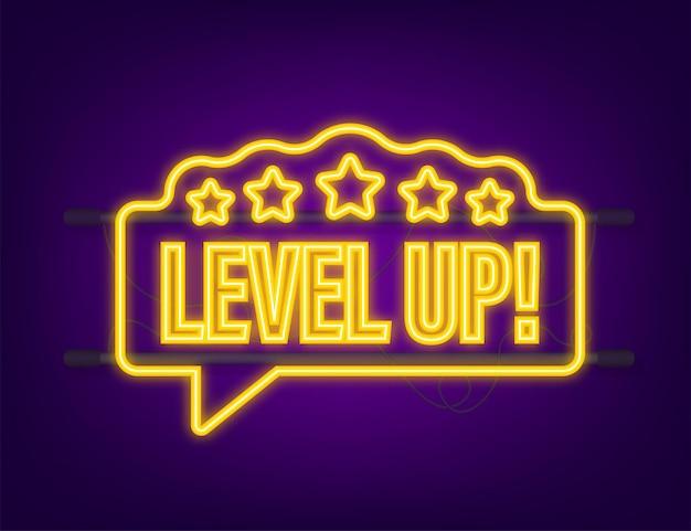 Bono de icono de juego. icono de subir de nivel, logotipo de nuevo nivel. icono de neón. ilustración vectorial.