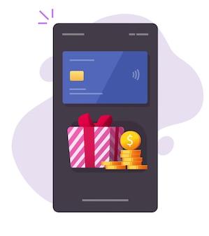 Bono de regalo de dinero móvil, recompensa de reembolso a la tarjeta de crédito bancaria en el teléfono inteligente