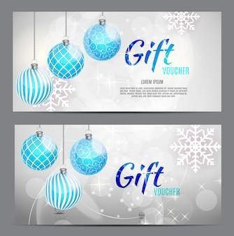 Bono de regalo de navidad y año nuevo, plantilla de cupón de descuento ve
