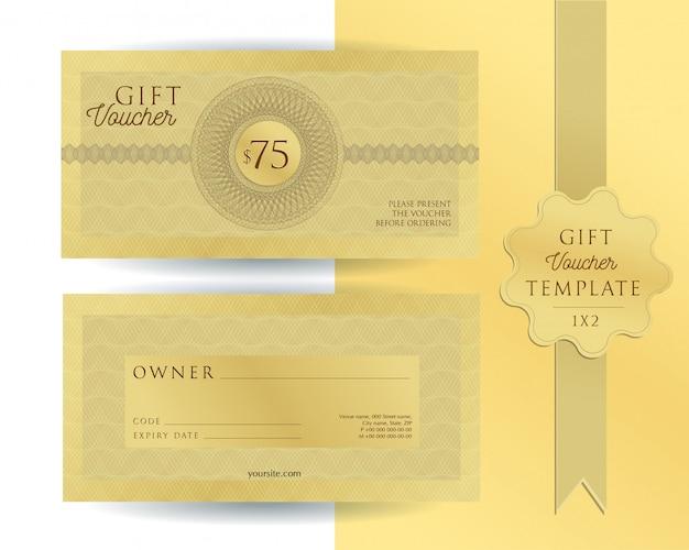 Bono de regalo de plantilla dorada con filigranas. cupón de doble cara con campos a rellenar.