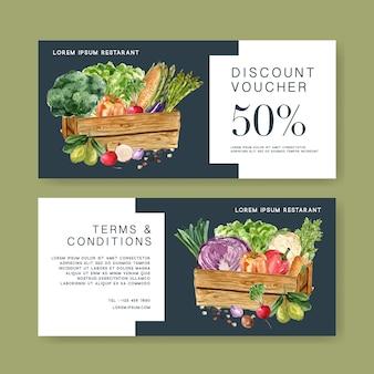 Bono regalo vegetal colección de pintura de acuarela. ilustración saludable orgánica de alimentos frescos