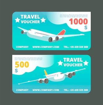 Bono regalo de viaje, tarjeta promocional de viaje. boleto con avión volando en el cielo conjunto de vectores