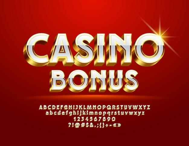 Bono de royal logo casino. fuente 3d de oro y blanco. letras y símbolos del alfabeto chic