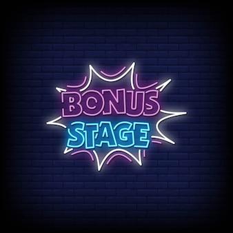 Bonus stage neon signs style texto vector