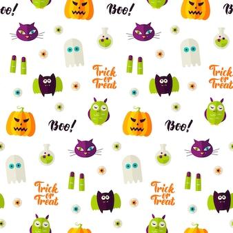 Boo halloween de patrones sin fisuras. ilustración de vector de fondo de vacaciones. truco o trato.