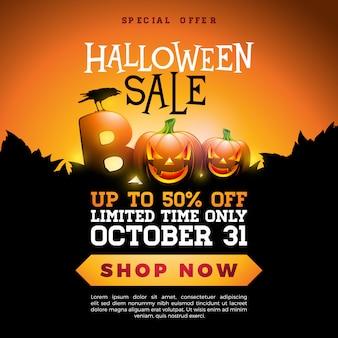 Boo, ilustración de banner de venta de halloween