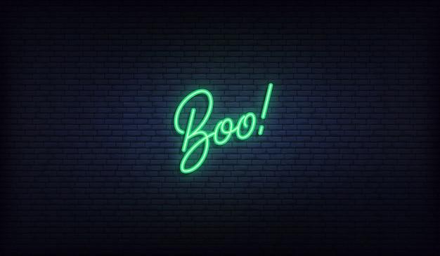 Boo letras letrero de neón. diseño de vacaciones de halloween.