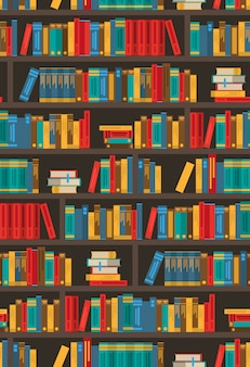 Book shelves dtcorative colorful icon póster
