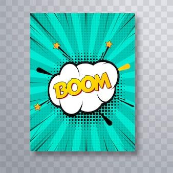 Boom text comic book colorido pop art brochure