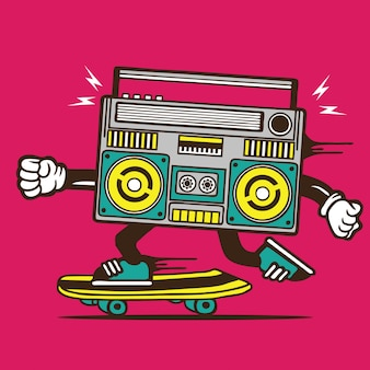 Boombox music player skate skateboard diseño de personajes
