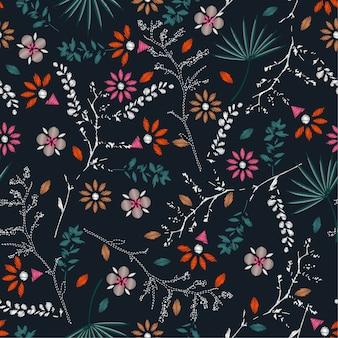 Bordado colorido patrón floral sin fisuras vector