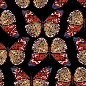 Bordado elegante de patrones sin fisuras de coloridas mariposas en ilustraciones