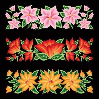 Bordado estilo de oaxaca mexico conjunto de borde floral