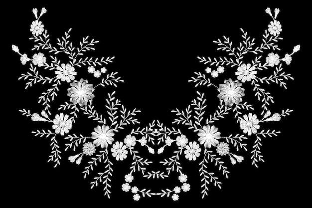 Bordado de flores de campo monocromo blanco y negro.
