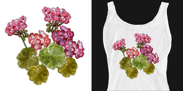 Bordado de flores de geranio