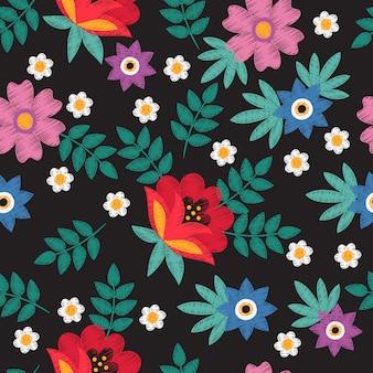 Bordado hecho a mano floral étnico con manzanilla y flores vector patrón transparente