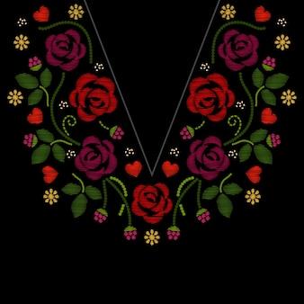 Bordado de línea de cuello con ilustración de flores rosas. f