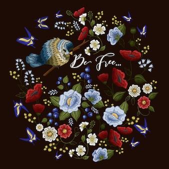 Bordado patrón de colores con adornos florales.
