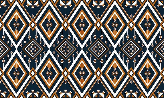 Bordado de patrón étnico geométrico. alfombra, papel tapiz, ropa, envoltura, batik, tela, estilo de bordado de ilustración vectorial. Vector Premium