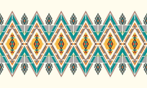 Bordado de patrón étnico geométrico. alfombra, papel tapiz, ropa, envoltura, batik, tela, estilo de bordado de ilustración vectorial.