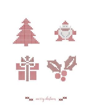 Bordado de punto de cruz de navidad.