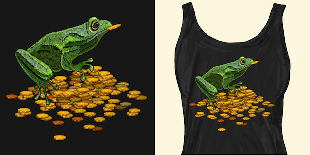 Bordado rana y monedas de oro