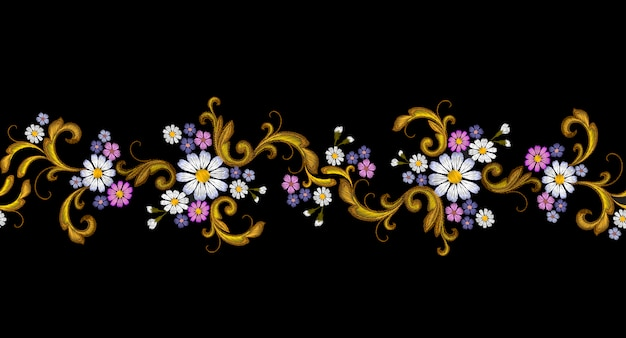 Bordado realista vector moda frontera sin costuras flor margarita dorada