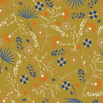 Bordado retro colorido patrón floral sin fisuras vector