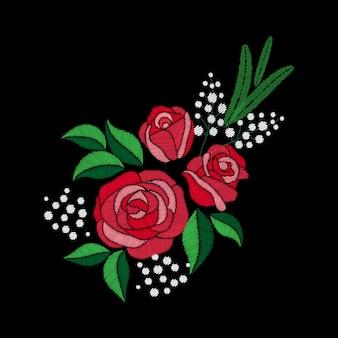 Bordado de rosas rojas y flores blancas sobre fondo negro. imitación de puntada de satén