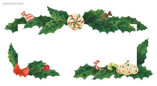 Borde de acebo de navidad con bastón de caramelo y piruleta y zefir, acuarela trazada